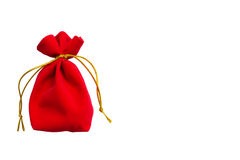 Saco vermelho de veludo isolado no branco Fotos de Stock Royalty Free