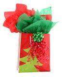 Saco vermelho e verde do presente de feriado do presente imagem de stock royalty free