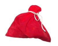 Saco vermelho isolado no fundo branco Fotos de Stock Royalty Free