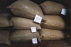 Sacos ásperos da juta de feijões de café Foto de Stock