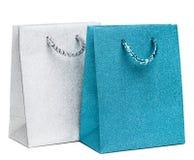 Sacos azuis e de prata do presente Imagem de Stock