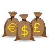 Sacos cheios do dinheiro Fotografia de Stock Royalty Free