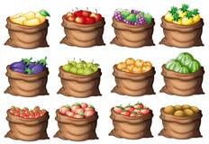 Sacos com frutos diferentes Imagem de Stock