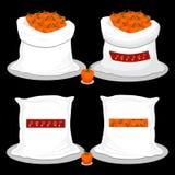 Sacos con la comida dulce natural stock de ilustración