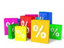 Sacos de compra com sinal de por cento Fotos de Stock