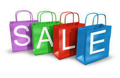 Sacos de compra com a venda da palavra Fotos de Stock Royalty Free