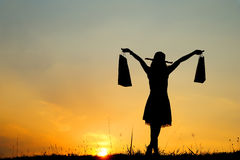 Sacos de compra da terra arrendada da mulher na silhueta do por do sol Fotografia de Stock