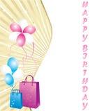 Sacos de compra e balões, cartão de aniversário Fotografia de Stock
