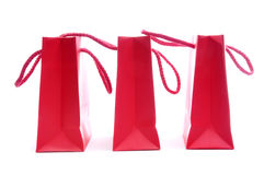 Sacos de compra vermelhos Fotografia de Stock