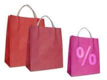 Sacos de compra vermelhos Foto de Stock