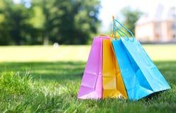 Sacos de compras coloridos na grama Fotografia de Stock