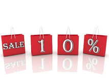 Sacos de compras com venda da mensagem e 10 por cento Fotos de Stock Royalty Free