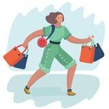 Sacos de compras da mulher ilustração royalty free
