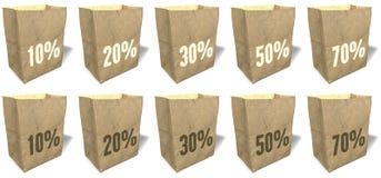 Sacos de compras de Brown, totalizadores, sacolas, material de papel natural, ecológico, slogan das vendas, cópia, grupo 7 Imagem de Stock
