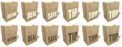 Sacos de compras de Brown, totalizadores, sacolas, material de papel natural, ecológico, slogan das vendas, cópia, grupo 5 Imagem de Stock Royalty Free