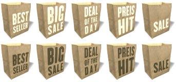 Sacos de compras de Brown, totalizadores, sacolas, material de papel natural, ecológico, slogan das vendas, cópia, grupo 3 Imagem de Stock