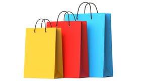 Sacos de compras de papel coloridos, ilustração 3d Imagens de Stock