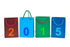 Sacos de compras e números 2015 Imagens de Stock Royalty Free