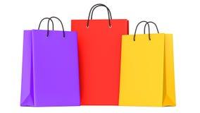 Sacos de compras roxos, vermelho, amarelo llustration 3d Imagens de Stock