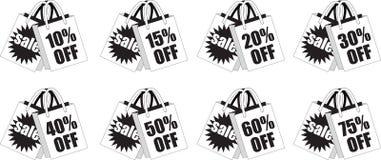 Sacos de compras varejos preto e branco do disconto Fotografia de Stock Royalty Free