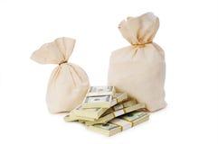 Sacos de dinero aislados Imagen de archivo libre de regalías