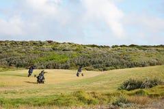 Sacos de golfe que sentam-se no campo de golfe Foto de Stock Royalty Free