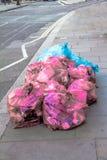 Sacos de lixo plásticos cor-de-rosa e azuis no passeio Fotografia de Stock Royalty Free