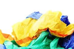 Sacos de plástico em um fundo branco Imagem de Stock Royalty Free