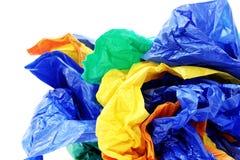 Sacos de plástico em um fundo branco Fotos de Stock