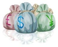 Sacos del bolso del dinero que contienen el dinero en circulación Imagen de archivo