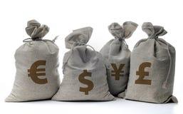 Sacos del dinero en un blanco Fotos de archivo libres de regalías