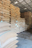 Sacos do cânhamo que contêm o arroz Foto de Stock