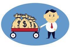 Sacos do dinheiro no carrinho de mão Imagens de Stock Royalty Free