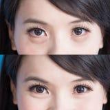 Sacos do olho da mulher imagem de stock