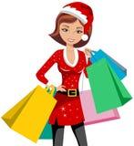 Sacos do saco de compras da mulher da forma do Xmas ilustração royalty free