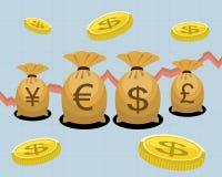 Sacos e moedas do dinheiro Fotografia de Stock
