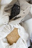 Sacos por completo con los granos de las semillas de girasol y del trigo de Einkorn Variedad de habas, de granos y de semillas en Imagen de archivo