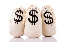 Sacos por completo de dinero Imagen de archivo libre de regalías