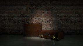 Sacos retros na parede de tijolo escura do fundo Fotografia de Stock Royalty Free