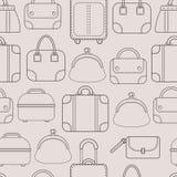 sacos Sacos e bagagem de mão para o curso Teste padrão sem emenda Vetor Imagem de Stock Royalty Free