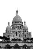 Sacré-Cœur, Paris. B&W cut-out of the he Basilica of the Sacred Heart of Paris, the famous Sacré-Cœur Basilica in Montmartre stock photography
