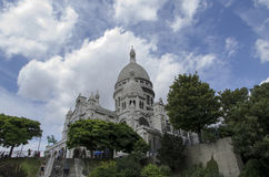 Sacré Coeur, Paris. The Basilica of the Sacred Heart of Paris, commonly known as Sacré-Cœur Basilica (French: Basilique du Sacré-Cœur, pronounced, is a Royalty Free Stock Photo