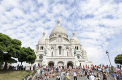 Sacré Coeur, Paris. The Basilica of the Sacred Heart of Paris, commonly known as Sacré-Cœur Basilica (French: Basilique du Sacré-Cœur, pronounced, is a Stock Image
