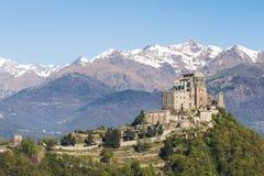 Sacra di San Michele abbotskloster i nordliga västra Italien Royaltyfria Bilder