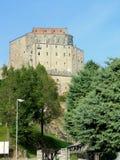 Sacra di San Michele, italienische mittelalterliche Abtei Lizenzfreies Stockfoto