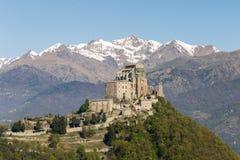 Sacra di San Michele Saint Michael Abbey på monteringen Pirchiriano Fotografering för Bildbyråer