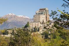 Sacra di San Michele Saint Michael Abbey på monteringen Pirchiriano Arkivfoton