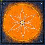 Sacral chakra Svadhishthana. Beautiful orange blue seed of life mandala Stock Photos