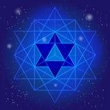 Sacral geometridesign med polygonen på bakgrund av utrymme och stjärnor Magiskt symbol, mystisk kristall Andligt diagram Royaltyfria Bilder