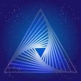 Sacral geometridesign med triangeln på bakgrund av utrymme och stjärnor Magiskt symbol Royaltyfria Bilder